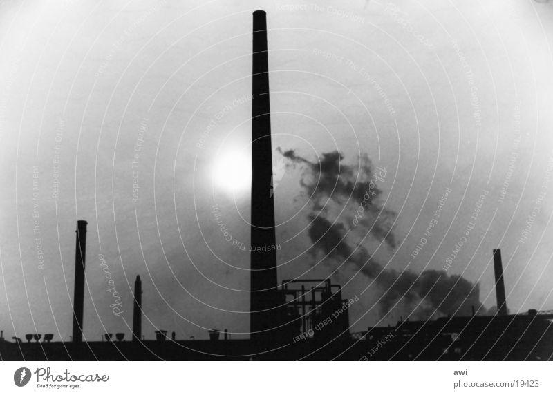 Nachtschatten Sonne Architektur Nebel Schornstein Produktion Zeche Kokerei Industriearchitektur