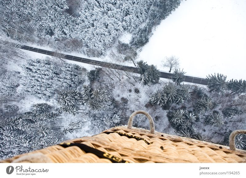Schwindel Natur Landschaft Winter Eis Frost Schnee Wald Straße Luftverkehr Ballone fahren kalt oben unten ruhig Freude Vogelperspektive Ballonfahrt Korb hoch