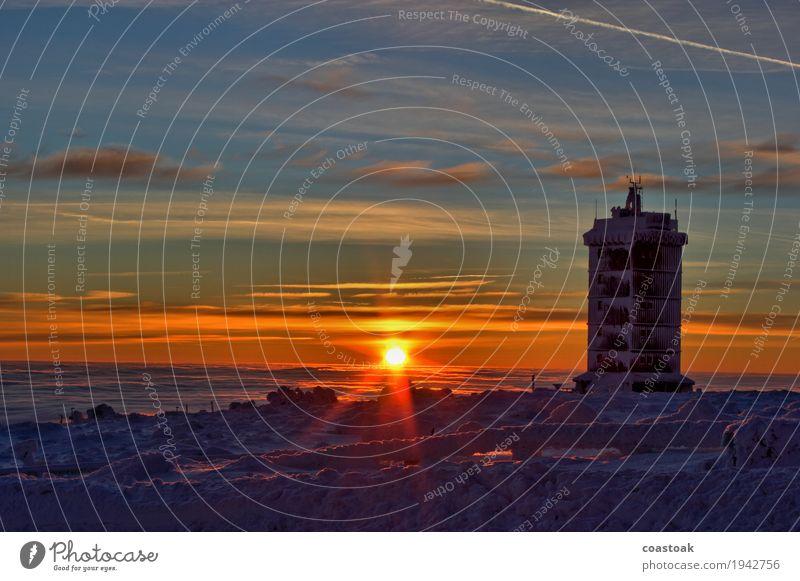 Sonnenaufgang am Wolkenhäuschen, Brocken Natur Landschaft Himmel Sonnenuntergang Winter Eis Frost Berge u. Gebirge Schneebedeckte Gipfel frisch kalt blau gelb
