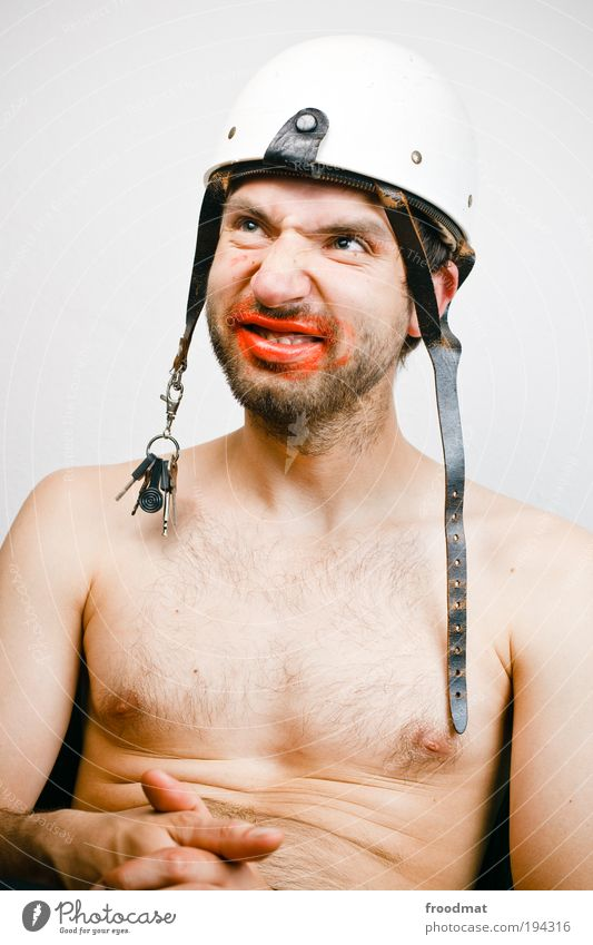 rümpf Mensch Mann Erwachsene nackt träumen lustig dreckig sitzen Nase maskulin verrückt außergewöhnlich Schutz skurril trashig Überraschung