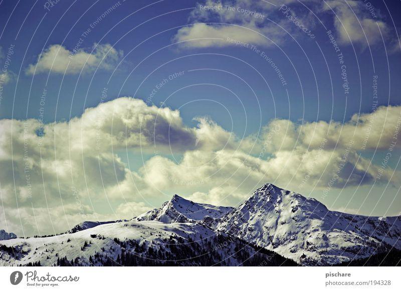 Bergluft Himmel Natur blau Wolken Winter Ferne Schnee Freiheit Berge u. Gebirge Landschaft Umwelt groß retro Alpen Unendlichkeit Respekt