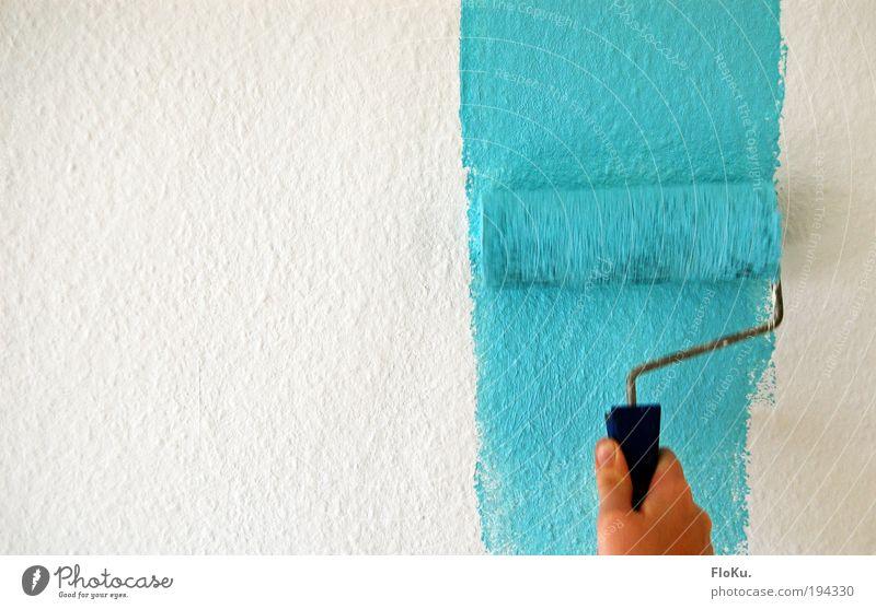 schönes Wetter für Zuhause Hand weiß blau Arbeit & Erwerbstätigkeit hell Raum Wohnung Design Beginn neu Baustelle Häusliches Leben streichen Tapete