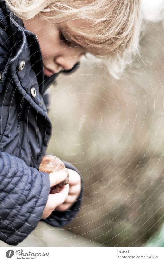 Das Schneckenhaus Mensch Kind blau Hand Mädchen Gesicht Spielen Kopf Denken Kindheit blond Finger niedlich beobachten Neugier Konzentration
