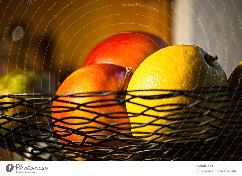 Küchen-Stillleben Lebensmittel Frucht Apfel Ernährung Vegetarische Ernährung Wohnung Raum Schalen & Schüsseln Metall hängen Gesundheit schön rund saftig sauer