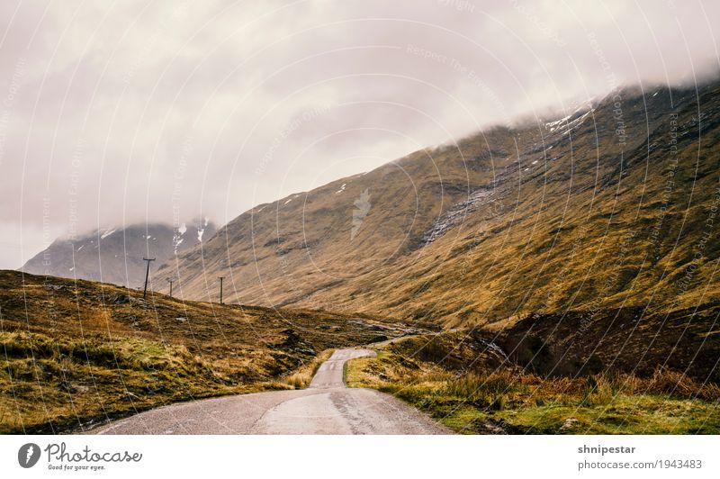 Scottish Highlands Natur Ferien & Urlaub & Reisen Landschaft Wolken Ferne dunkel Berge u. Gebirge Umwelt Straße Wege & Pfade Freiheit Tourismus Verkehr Ausflug