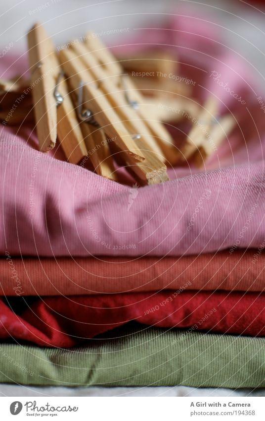 Waschtag grün rot Holz Zufriedenheit orange Mode rosa Bekleidung frisch Fröhlichkeit modern T-Shirt einfach Sauberkeit Häusliches Leben Lebensfreude