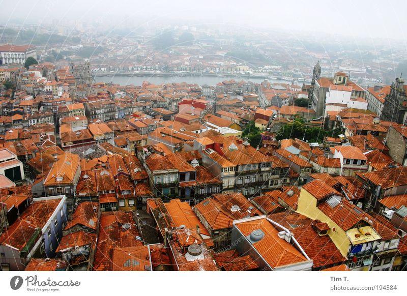 Red PORTO Stadt rot Haus Europa Fluss Dach Vogelperspektive Skyline Stadtzentrum Schornstein Zusammenhalt Portugal Dunst Gebäude Altstadt Blick