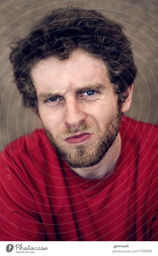 D Mensch Mann Jugendliche blau rot Gesicht Auge Kopf Haare & Frisuren Erwachsene maskulin T-Shirt Porträt Bart 18-30 Jahre Sportler