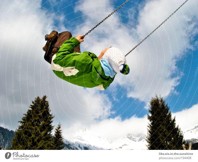 ein schlückchen himmel Zufriedenheit Erholung Freizeit & Hobby Spielen Winterurlaub Berge u. Gebirge Schneebedeckte Gipfel Schaukel schaukeln fliegen Glück
