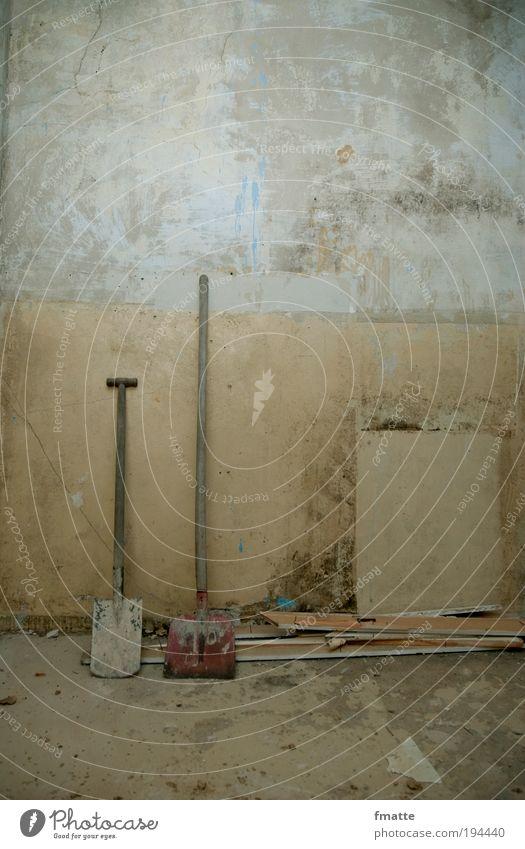 Baustelle Haus Gebäude Beton Häusliches Leben Zeichen Schaufel Textfreiraum oben