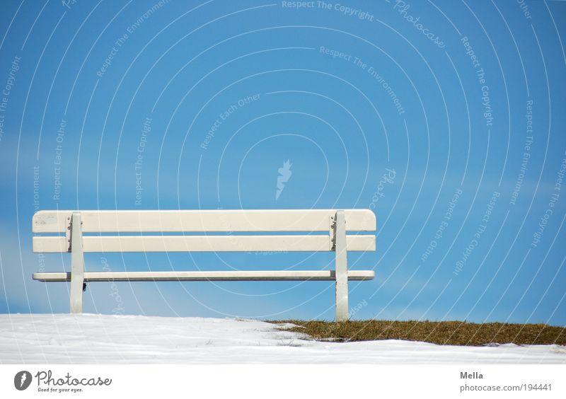 Ausschau nach Frühling Himmel weiß blau Winter Ferien & Urlaub & Reisen ruhig Ferne Erholung Landschaft Luft Wetter Umwelt Zeit Ausflug Tourismus Pause