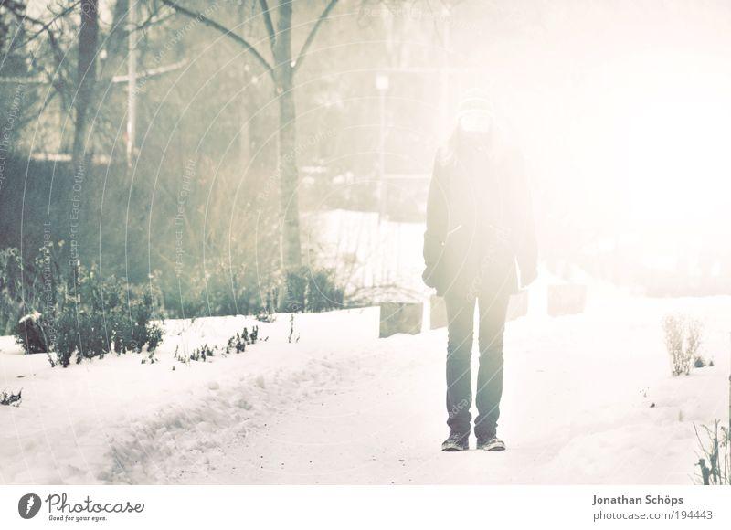 überstrahlt Mensch 1 stehen leuchten grün weiß Gefühle Einsamkeit Spaziergang Park Winter träumen Aussehen auftauchen Nebel gerade unerkannt unerklärlich Beine