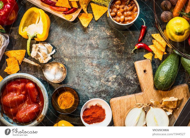 Vegetarische Zutaten für mexikanische Küche Lebensmittel Gemüse Salat Salatbeilage Kräuter & Gewürze Öl Ernährung Abendessen Bioprodukte Vegetarische Ernährung