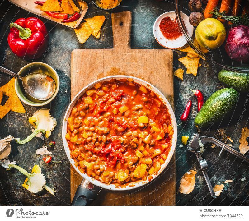 Vegetarisches Chili Con Carne Gericht in Pfanne Gesunde Ernährung Speise Leben Gesundheit Stil Design Tisch Kräuter & Gewürze Küche Gemüse Bioprodukte