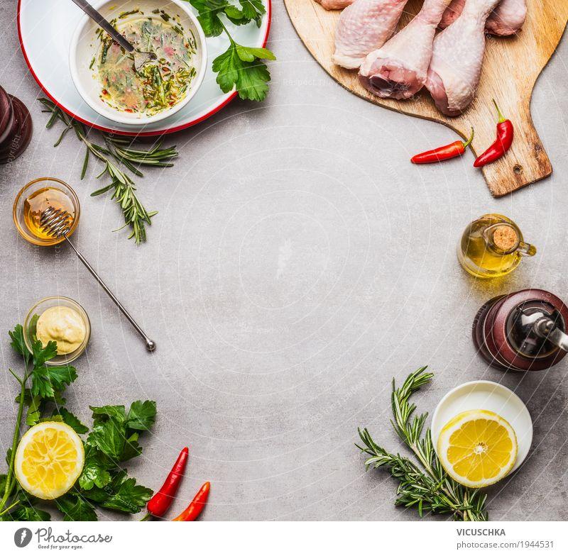 Hähnchen mit Marinade zubereiten Lebensmittel Fleisch Kräuter & Gewürze Öl Ernährung Mittagessen Abendessen Festessen Bioprodukte Diät Geschirr Stil