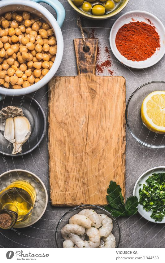 Kichererbsen und verschiedene gesunde Zutaten für Salat Lebensmittel Meeresfrüchte Gemüse Getreide Kräuter & Gewürze Öl Ernährung Mittagessen Abendessen Büffet