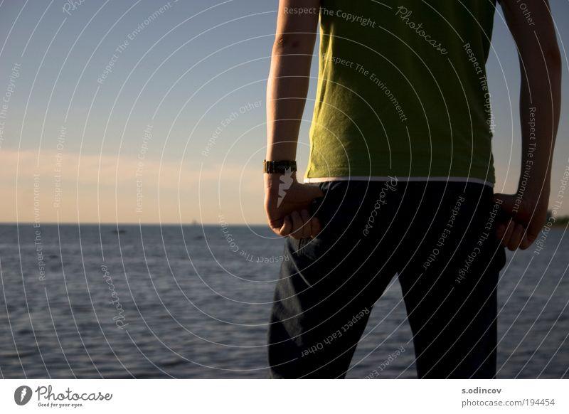 Ein Junge schaut in einen Horizont. Stil Rücken Arme Beine 1 Mensch 18-30 Jahre Jugendliche Erwachsene Natur Sonnenaufgang Sonnenuntergang Sonnenlicht Sommer
