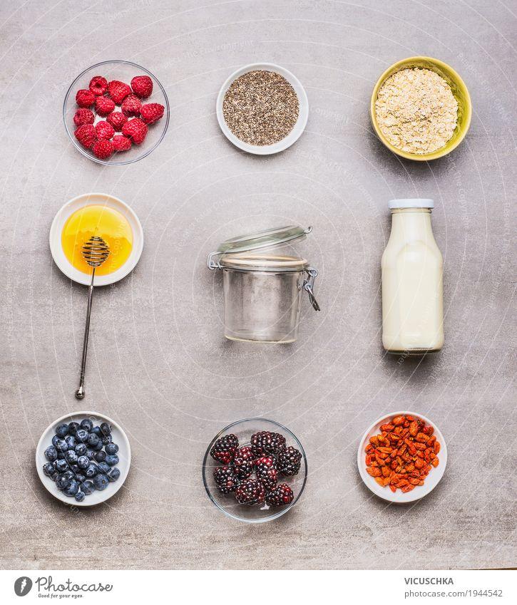 Zutaten für Gesundes Frühstück Lebensmittel Milcherzeugnisse Frucht Getreide Dessert Ernährung Getränk Geschirr Schalen & Schüsseln Flasche Stil Design