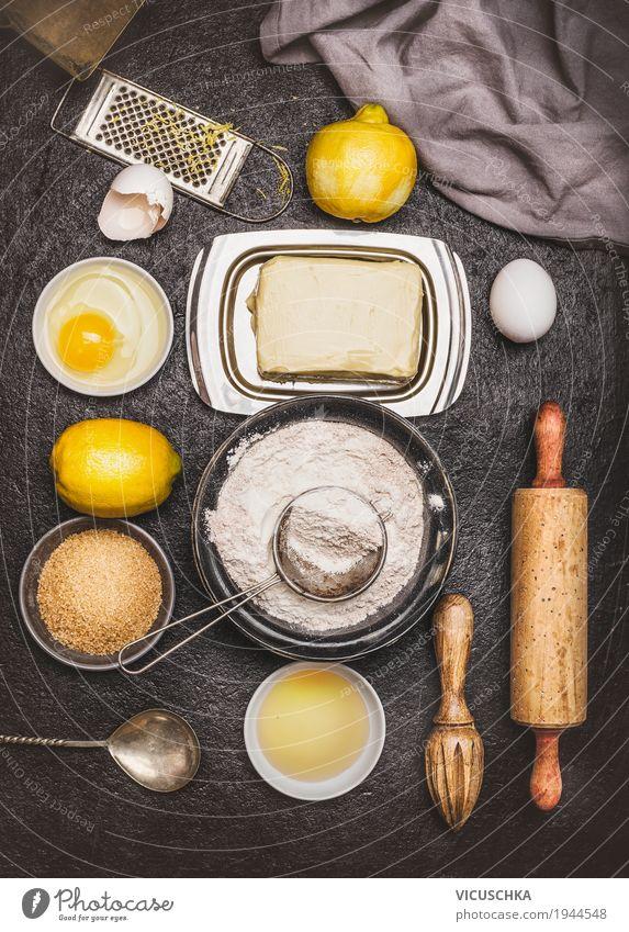 Zutaten für Zitronen Kekse oder Kuchen Lebensmittel Dessert Ernährung Geschirr Stil Design Häusliches Leben Tisch Küche Weihnachten & Advent backen Teigwaren