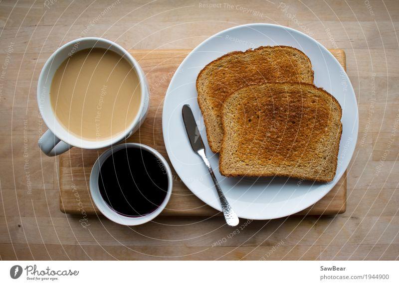 Kaffee, Gelee und Toast Lebensmittel Brot Marmelade Ernährung Essen Frühstück Kaffeetrinken Bioprodukte Getränk Heißgetränk Geschirr Teller Schalen & Schüsseln