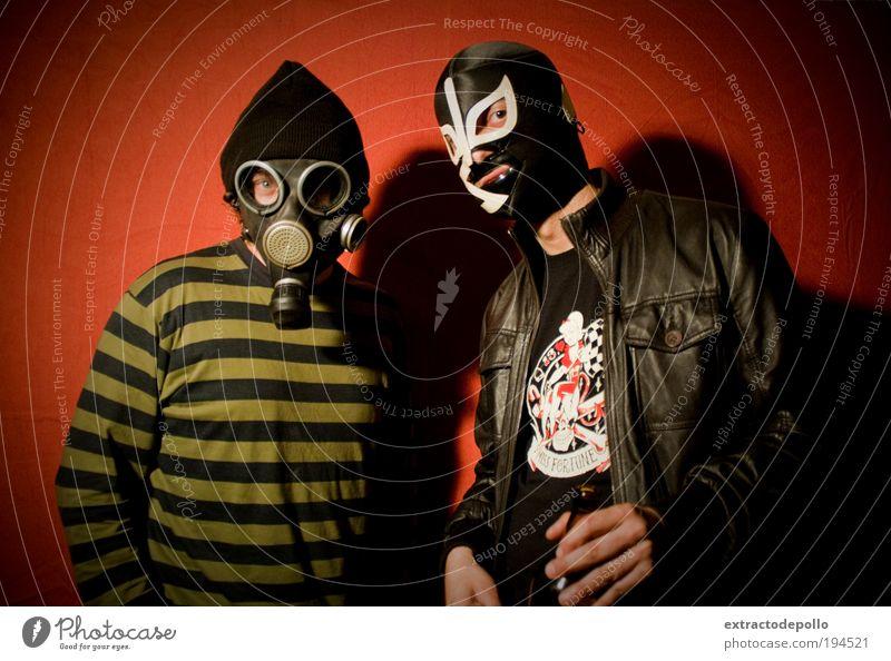 Mann Maske trashig Punk Witz Spaßvogel Subkultur verkleidet Atemschutzmaske Mensch