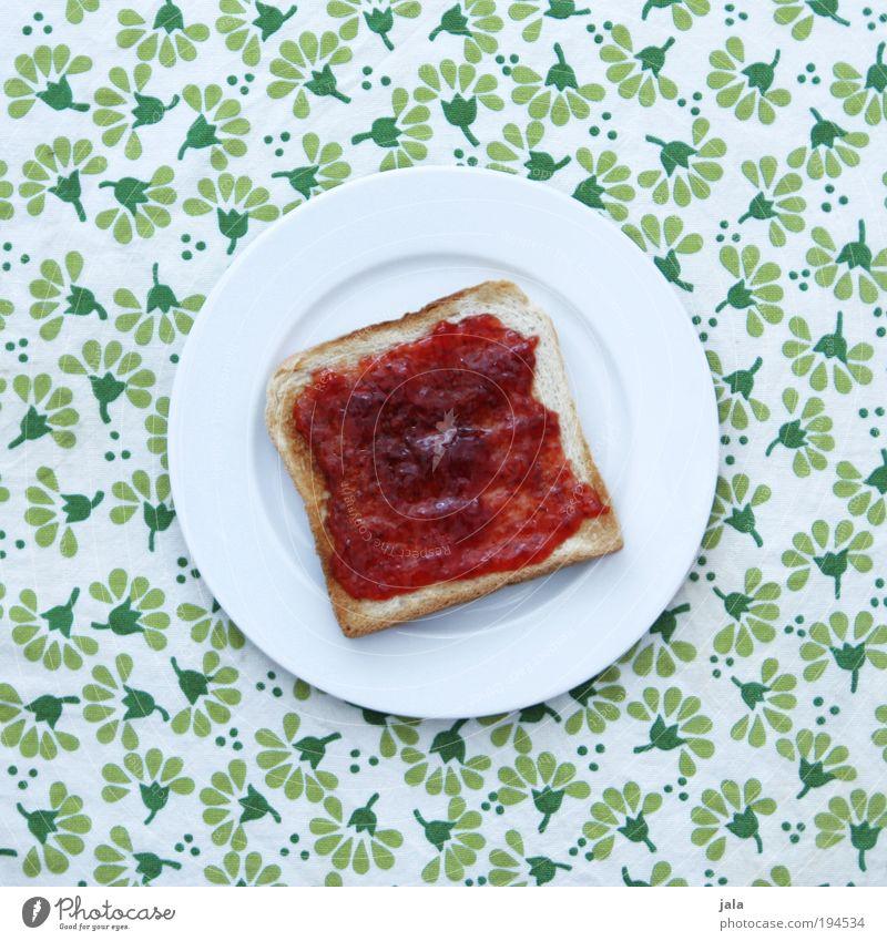 Suze's Erdbeermarmelade Lebensmittel Brot Marmelade Ernährung Frühstück Bioprodukte Vegetarische Ernährung Geschirr Teller gut lecker weiß grün Muster Toastbrot