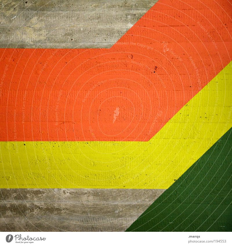 Koalition elegant Stil Design Dekoration & Verzierung Beton Linie Streifen einfach Erfolg trendy retro gelb grün rot Farbe Wachstum Politik & Staat Reggae