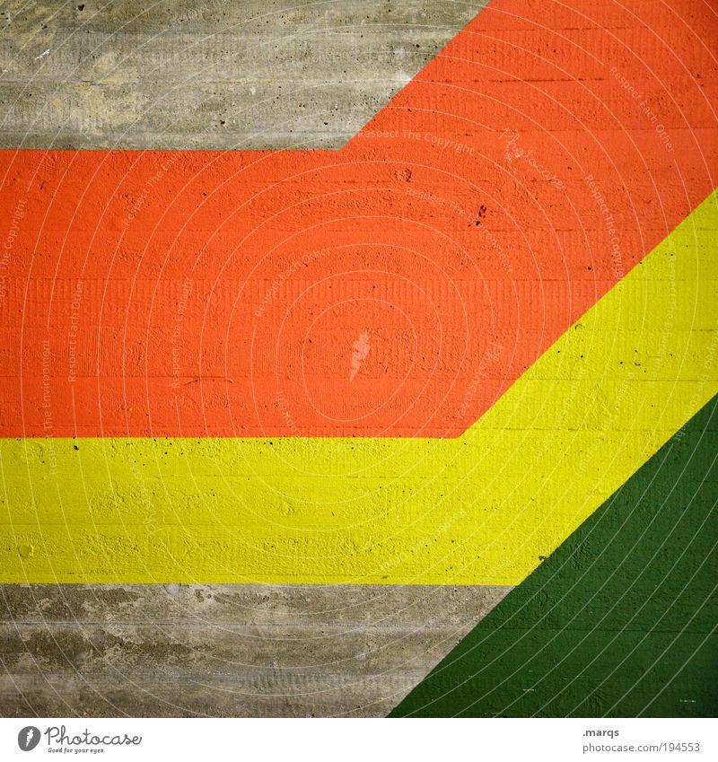 Koalition grün rot gelb Farbe Stil Linie Hintergrundbild Design elegant Erfolg Beton Wachstum retro einfach Dekoration & Verzierung Streifen