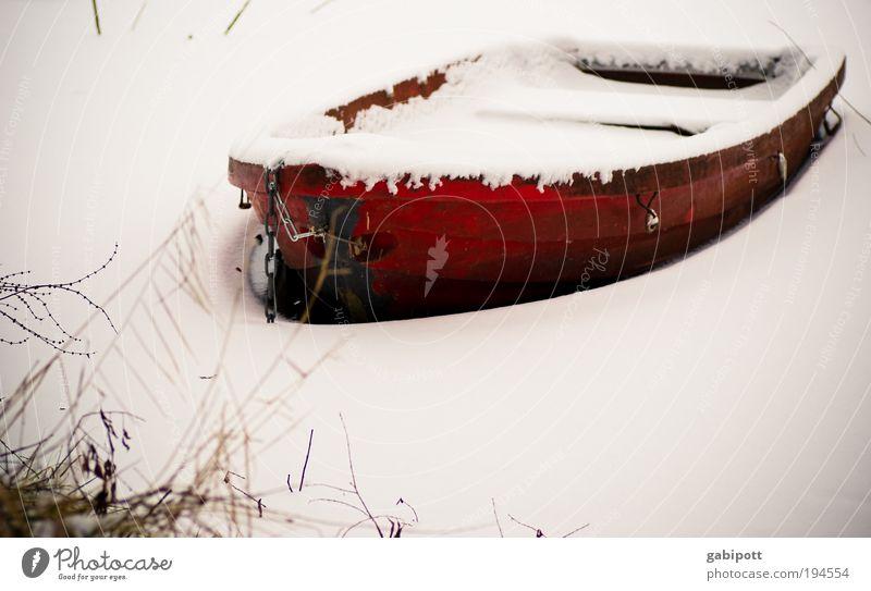 Winterschlussverkauf - alles muss raus Natur weiß rot Winter Umwelt Leben kalt Schnee Küste Eis Wasserfahrzeug warten Idylle Seeufer Angeln frieren