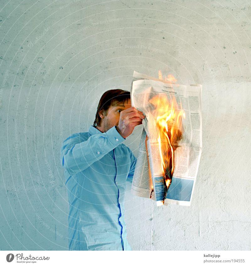 seite eins girl Mensch Leben Business Kunst maskulin Feuer Papier Beruf Medien lesen Kultur Bildung Maschine heiß Information Zeitung