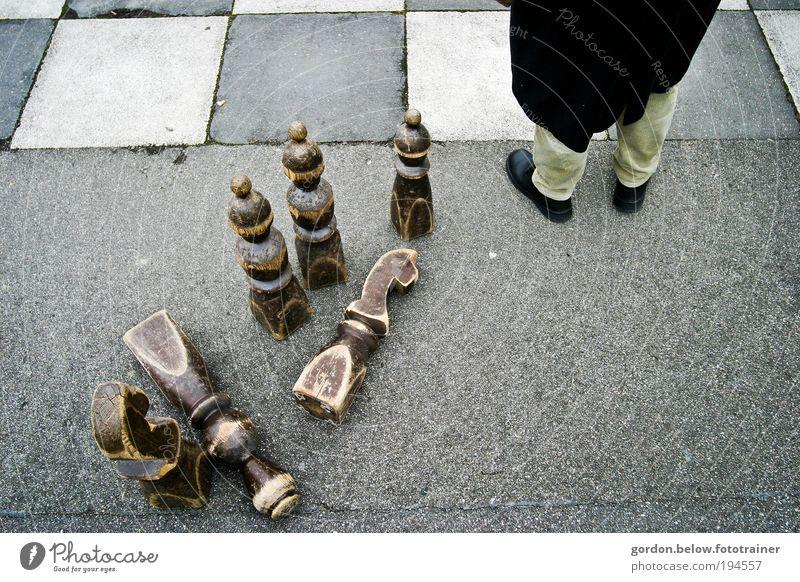 schach! Mensch Mann Winter Spielen grau Erwachsene Erfolg maskulin beobachten Ruhestand Interesse Überraschung Optimismus Männlicher Senior Verlierer Feierabend