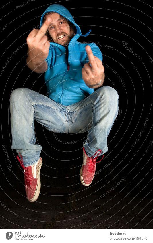 stinkespringer Mensch Jugendliche Mann Junger Mann Erwachsene Leben springen maskulin Kraft Erfolg verrückt Kommunizieren Coolness Gelassenheit Wut Leidenschaft