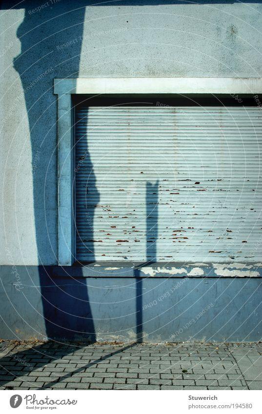 Schattenbild Baum blau Stadt Haus Wand Mauer ästhetisch Schönes Wetter hässlich Schatten Perspektive