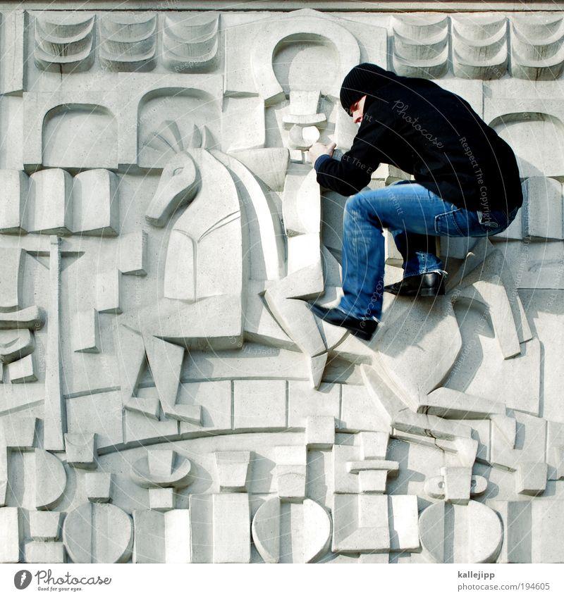 blauer reiter Lifestyle Freizeit & Hobby Reiten Reitsport Mensch maskulin 1 Kunst Kunstwerk Skulptur Jeanshose Jacke Mütze kämpfen Relief Reiter Publikum Bühne