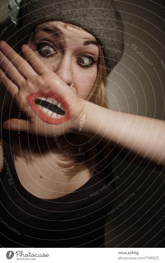 need a new face ? Jugendliche schön sprechen lustig Design Mund einzigartig Zähne Lippen Maske schreien Überraschung Ruhestand Gesicht Entsetzen Unlust