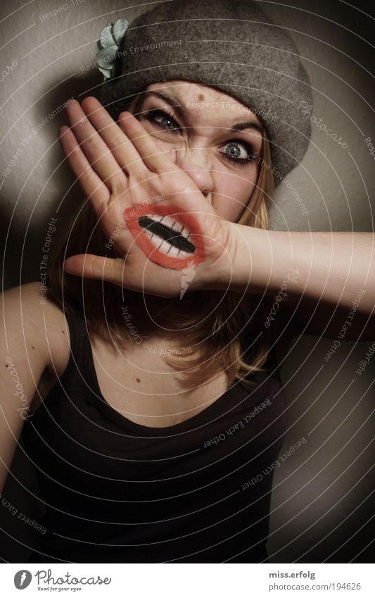 was war da denn los? Hand Gesicht sprechen Gefühle Stil Mund Design verrückt Mensch Maske schreien Humor leuchten Grimasse Unsinn Ironie