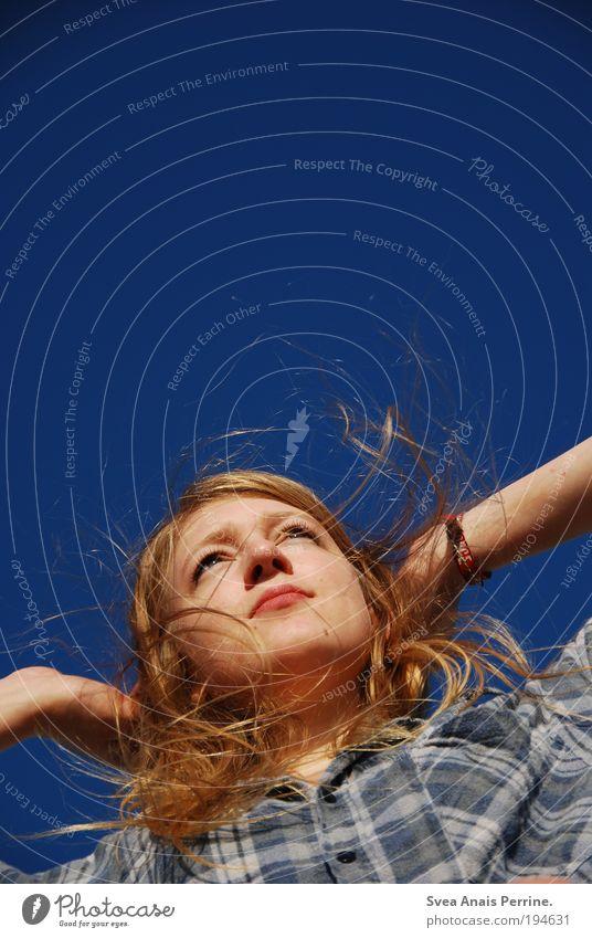 150!!!ahoi! Mensch Himmel Jugendliche blau Sommer Gesicht Erwachsene Erholung feminin Kopf blond elegant Mund Nase außergewöhnlich Fröhlichkeit