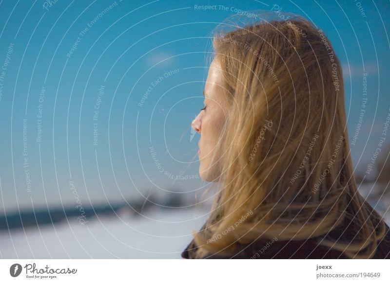 Aufladen Frau Mensch Natur Jugendliche Himmel weiß blau Winter ruhig kalt Schnee Erholung feminin träumen Kopf