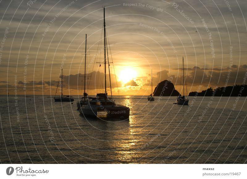 sundown II Wasser Himmel Sonne Meer Wolken Wasserfahrzeug Segelboot