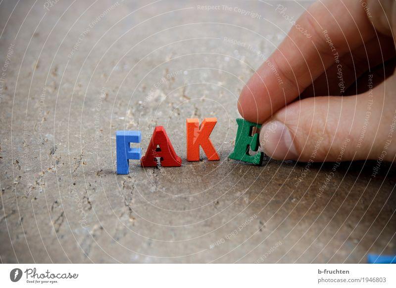 Fälschung Business Finger Holz Zeichen Schriftzeichen bauen lesen mehrfarbig fake Wahrheit postfaktisch Politik & Staat Journalismus Medien Wort Farbfoto