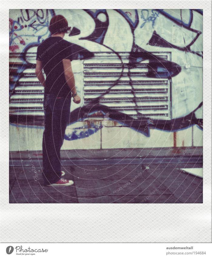 Virtual Painting Mensch maskulin Mann Erwachsene 1 18-30 Jahre Jugendliche Künstler Maler Skyline Menschenleer Haus Hochhaus Gebäude Dach atmen beobachten