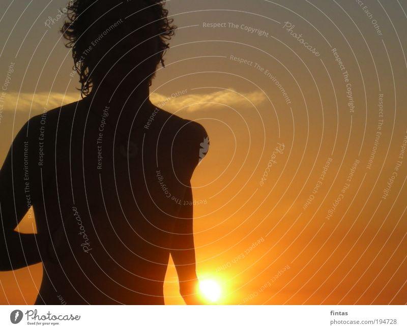 Sonne im Gesicht Mensch Jugendliche Ferien & Urlaub & Reisen Erwachsene Glück maskulin Hoffnung 18-30 Jahre Sonnenaufgang Schatten Sonnenstrahlen