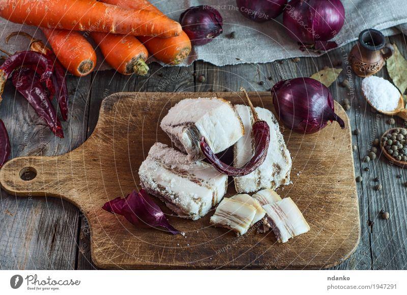 rot Essen natürlich Lebensmittel grau braun orange frisch Tisch Kräuter & Gewürze Gemüse Stoff Top Scheibe Vitamin Löffel