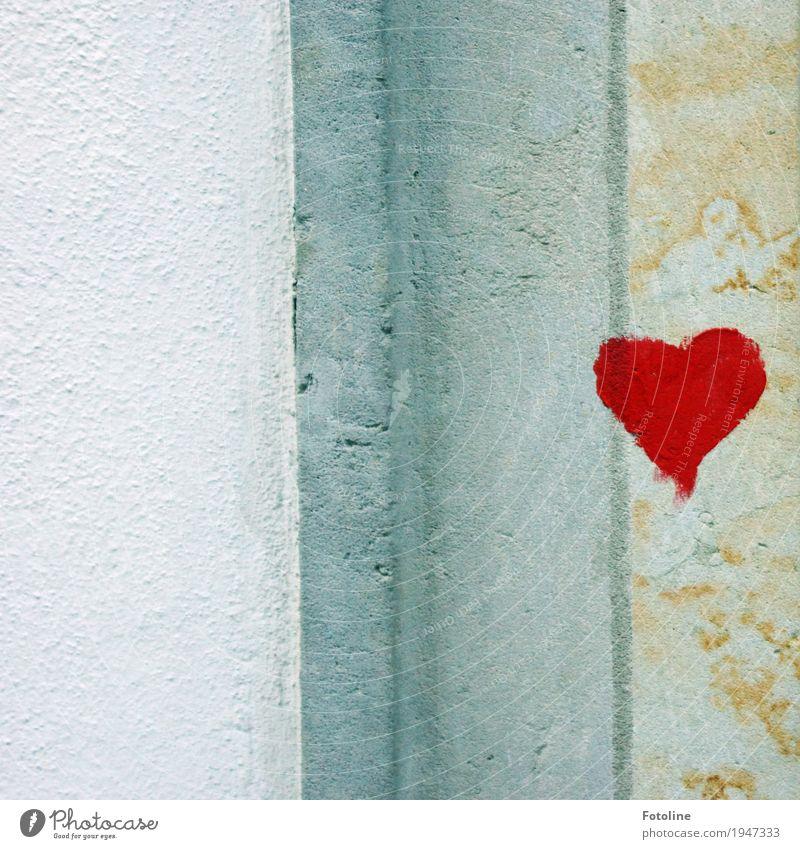 Ein Herz für DICH! Stein Beton Zeichen Graffiti grau rot weiß Mauer Wand herzlich Farbe Kunst Farbfoto mehrfarbig Außenaufnahme Detailaufnahme Menschenleer