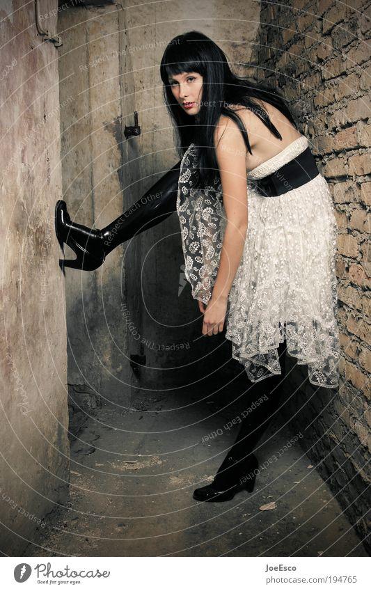 make way for no one 02 Frau schön Erwachsene feminin Leben Wand Stil Mauer Mode Feste & Feiern elegant stehen Lifestyle Coolness Kleid Stiefel