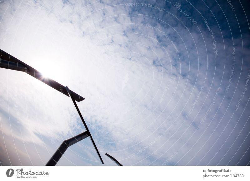 Berührung Himmel blau weiß Sonne Wolken schwarz Bewegung Metall Kunst Zufriedenheit Klima außergewöhnlich leuchten Kommunizieren lang Denkmal