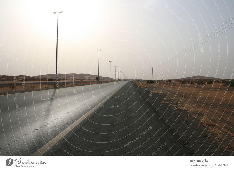 Desert Road Natur Sonne Ferien & Urlaub & Reisen gelb Straße Landschaft braun Horizont Wüste Neugier exotisch