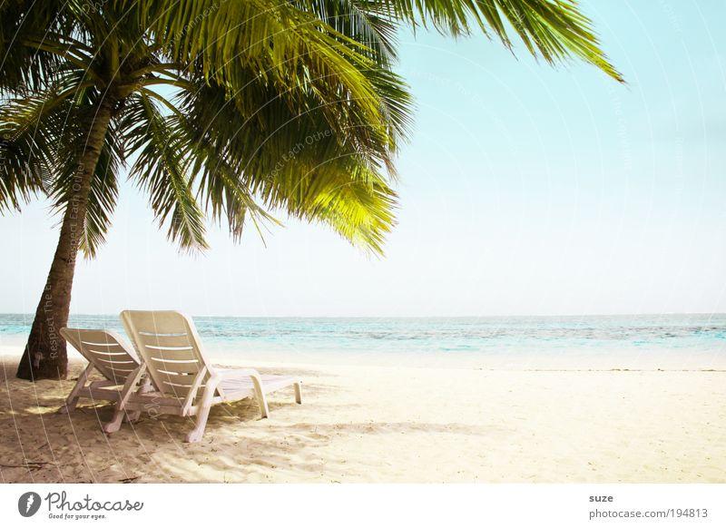 Zweisam Wellness Erholung Ferien & Urlaub & Reisen Tourismus Freiheit Sommerurlaub Strand Meer Insel Stuhl Liegestuhl Ruhestand Umwelt Natur Horizont