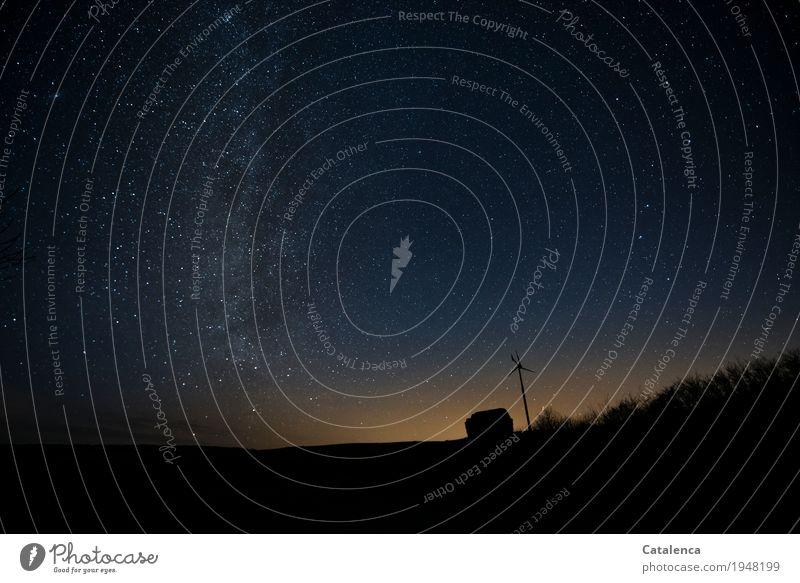 Nacht | wenn die Sternlein am Himmel stehn Erneuerbare Energie Windrad Natur Landschaft Wolkenloser Himmel Nachthimmel Horizont Winter Gras Feld beobachten