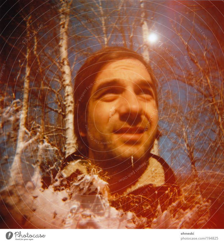 Schneemann Mensch maskulin Junger Mann Jugendliche Erwachsene Kopf Haare & Frisuren Gesicht 1 Umwelt Natur Winter Schönes Wetter Eis Frost Baum Sträucher Birke